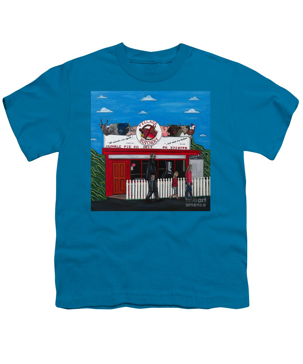 Buildings Youth T-Shirt featuring the painting The Village by Sandra Marie Adams