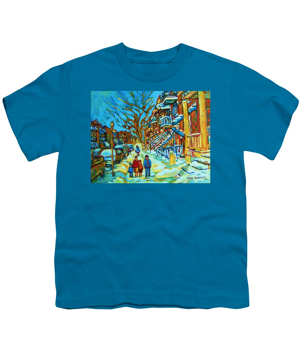 Winterscenes Youth T-Shirt featuring the painting Winter Walk In The City by Carole Spandau