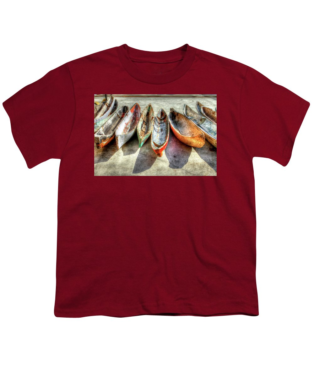 The Youth T-Shirt featuring the photograph Canoes by Debra and Dave Vanderlaan