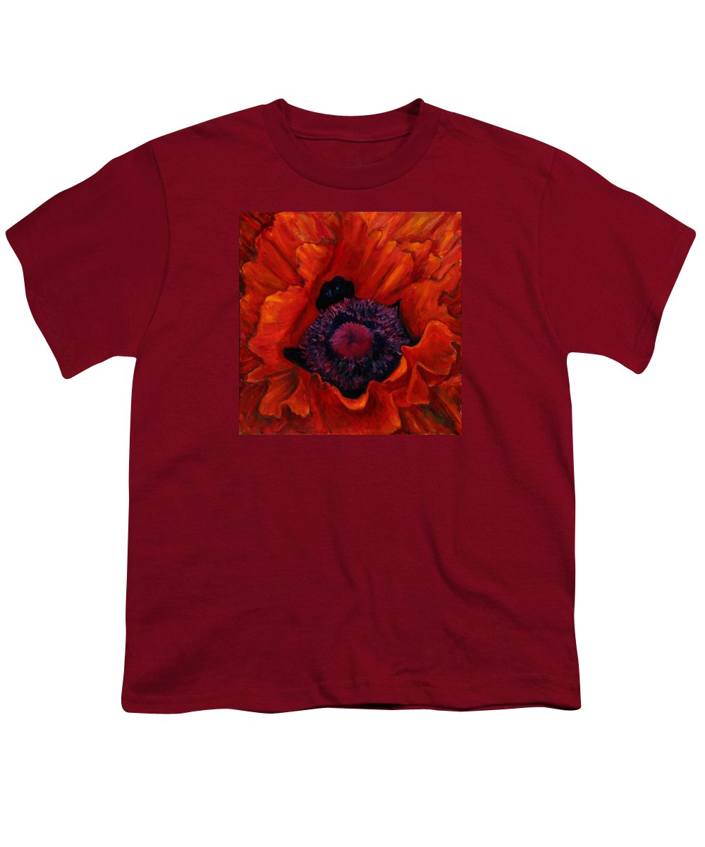 Red Poppy Youth T-Shirt featuring the painting Close Up Poppy by Billie Colson
