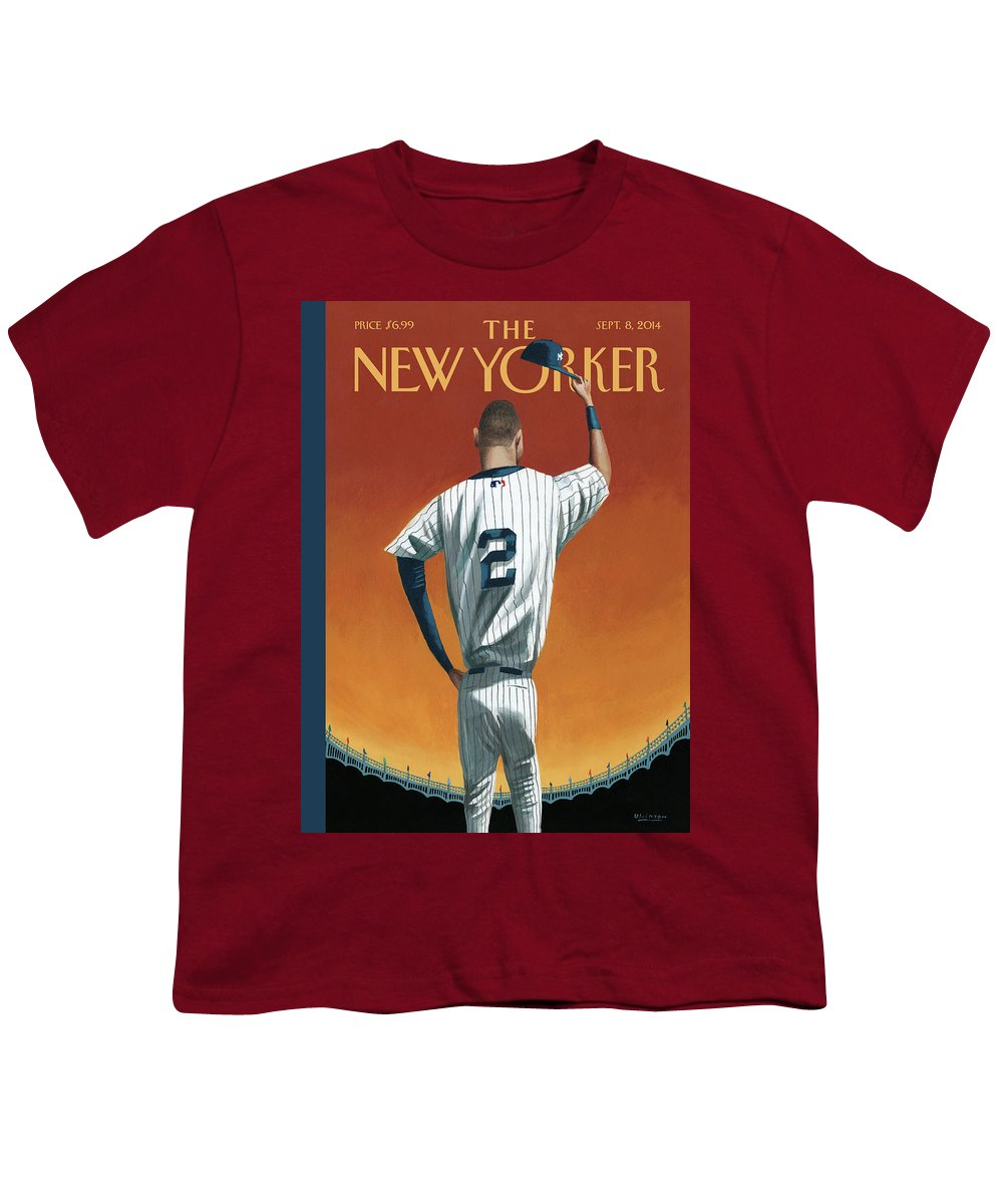 Retirement Youth T-Shirt featuring the painting Derek Jeter Bows Out by Mark Ulriksen