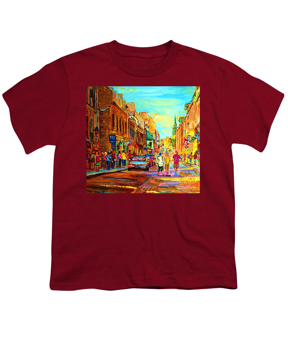 Montreal Youth T-Shirt featuring the painting Follow The Yellow Brick Road by Carole Spandau
