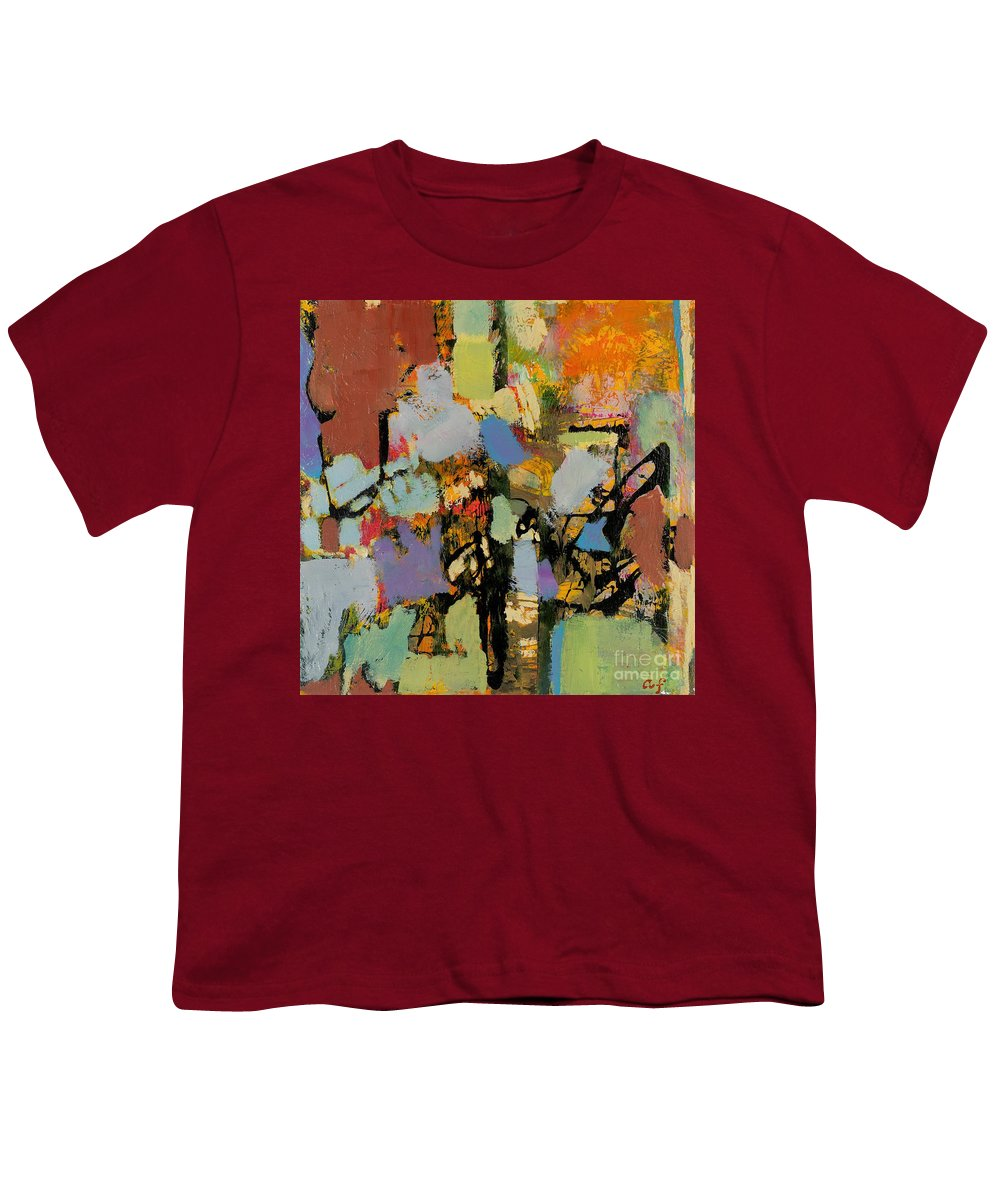 Landscape Youth T-Shirt featuring the painting Quick Racing by Allan P Friedlander