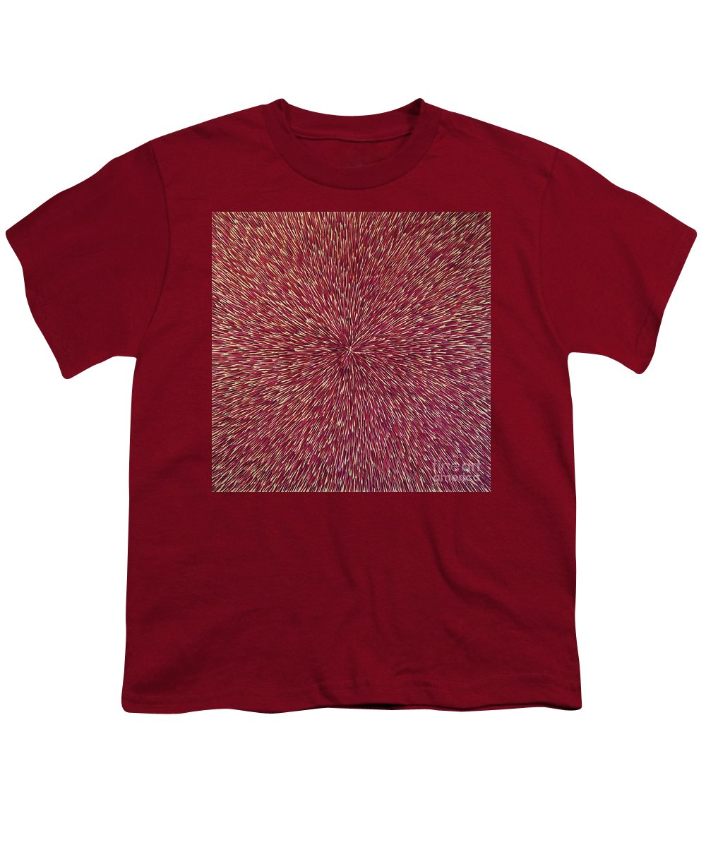 Abstract Youth T-Shirt featuring the painting Radiation With Brown Magenta And Violet by Dean Triolo