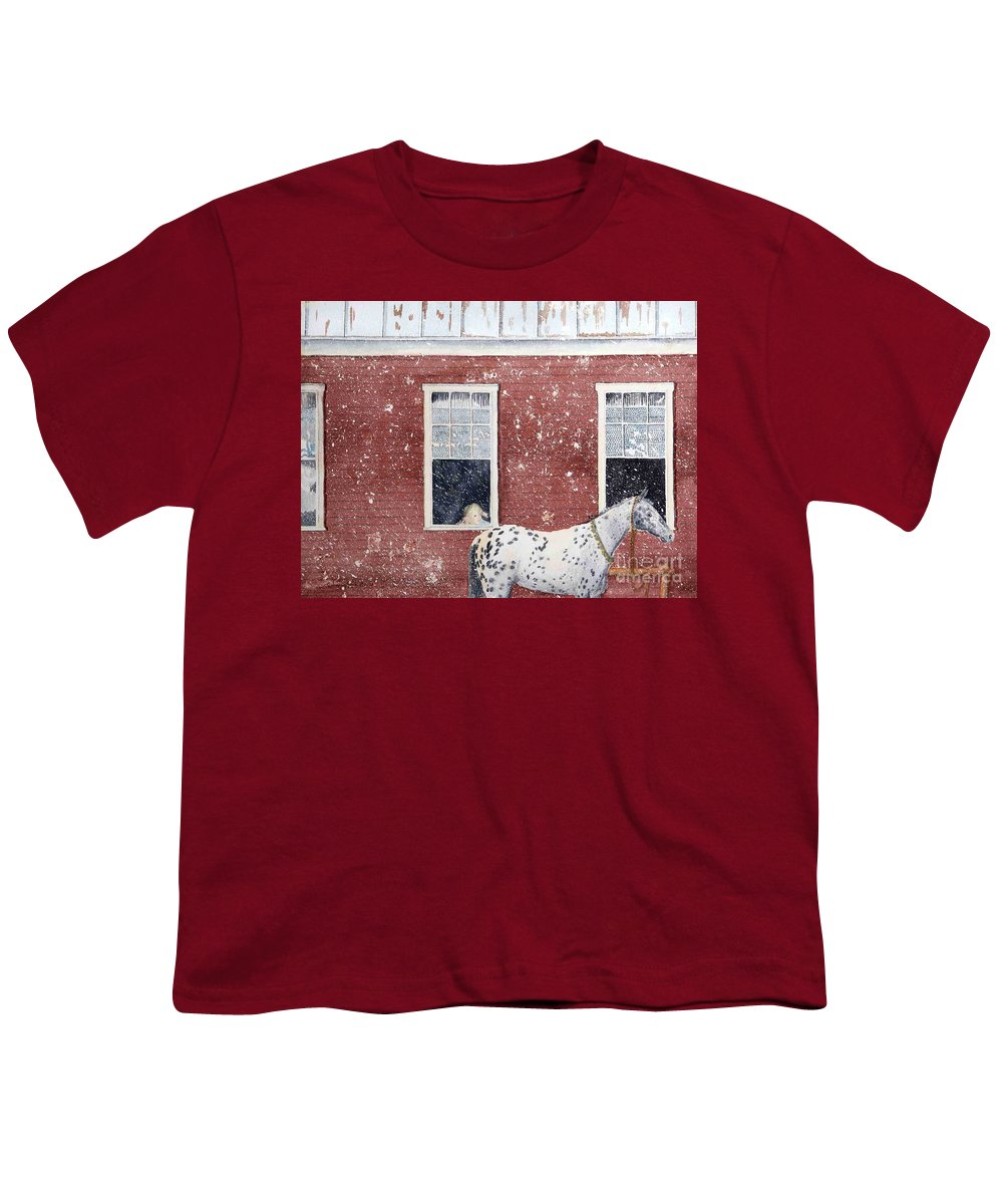 Horses Youth T-Shirt featuring the painting The Ride Home by LeAnne Sowa