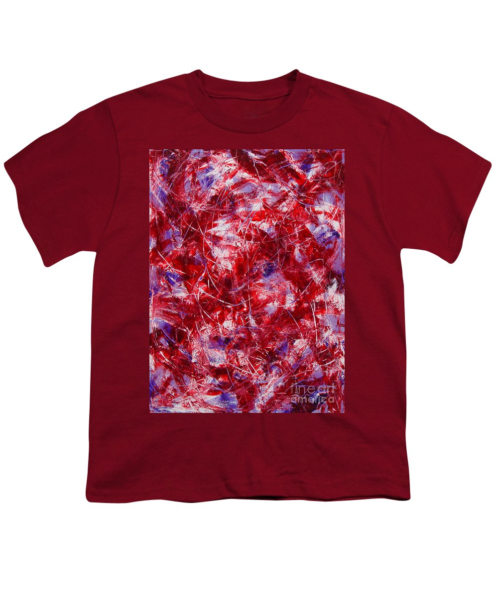 Abstract Youth T-Shirt featuring the painting Transitions With White Red And Violet by Dean Triolo