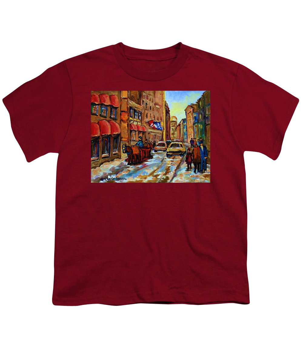 Horses Youth T-Shirt featuring the painting The Red Sled by Carole Spandau