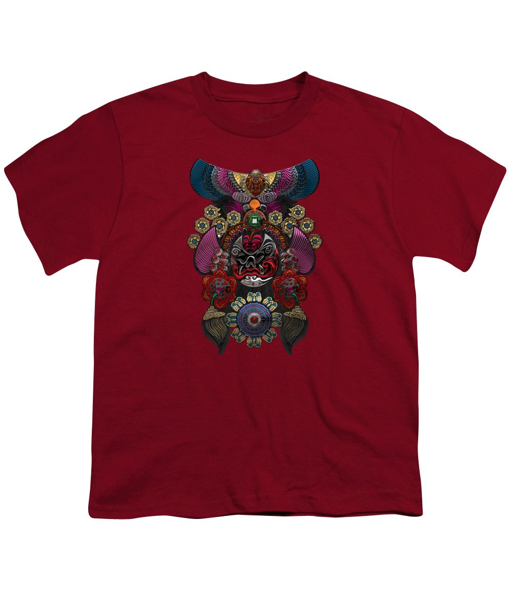 �treasures Of China� By Serge Averbukh Youth T-Shirt featuring the photograph Chinese Masks - Large Masks Series - The Demon by Serge Averbukh