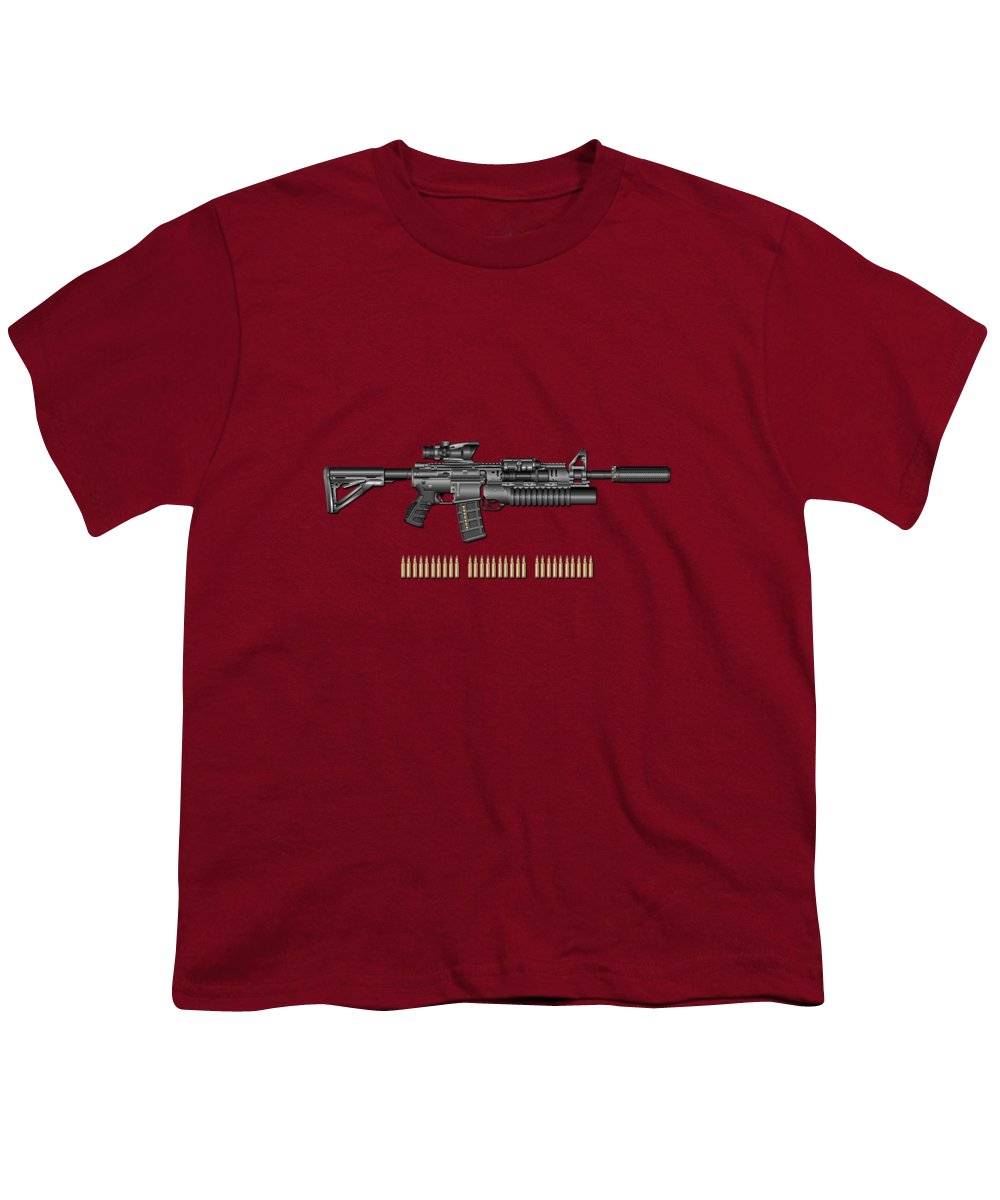 �the Armory� By Serge Averbukh Youth T-Shirt featuring the photograph Colt M 4 A 1 S O P M O D Carbine With 5.56 N A T O Rounds On Red Velvet by Serge Averbukh