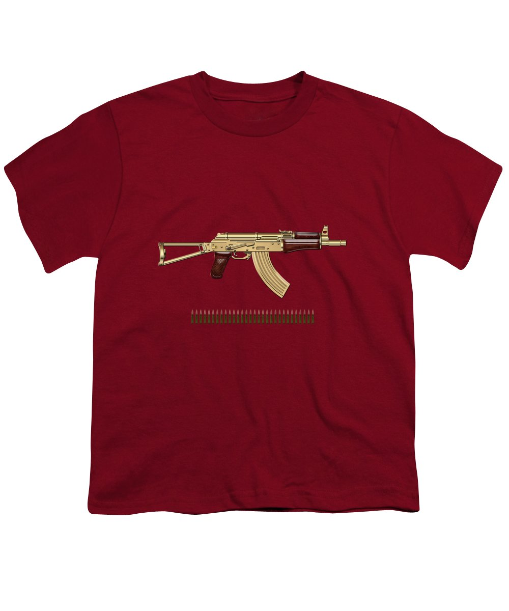 'the Armory' Collection By Serge Averbukh Youth T-Shirt featuring the photograph Gold A K S-74 U Assault Rifle With 5.45x39 Rounds Over Red Velvet  by Serge Averbukh