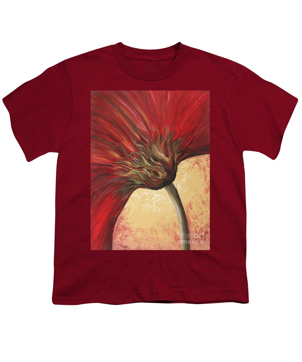 Floral Youth T-Shirt featuring the painting Power Of Red by Nadine Rippelmeyer