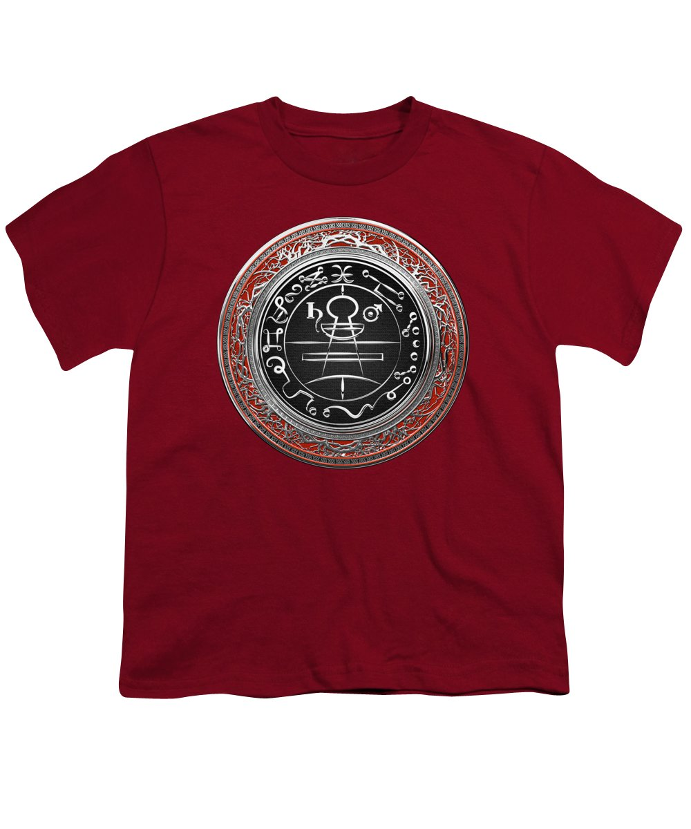 'sacred Symbols' Collection By Serge Averbukh Youth T-Shirt featuring the photograph Silver Seal Of Solomon - Lesser Key Of Solomon On Red Velvet by Serge Averbukh