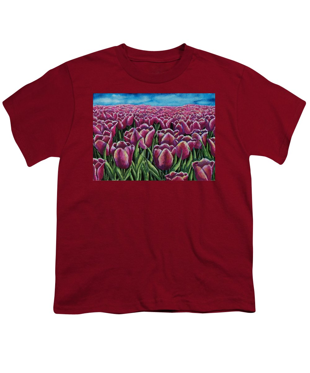 Tulips Youth T-Shirt featuring the painting 1000 Tulpis by Conni Reinecke
