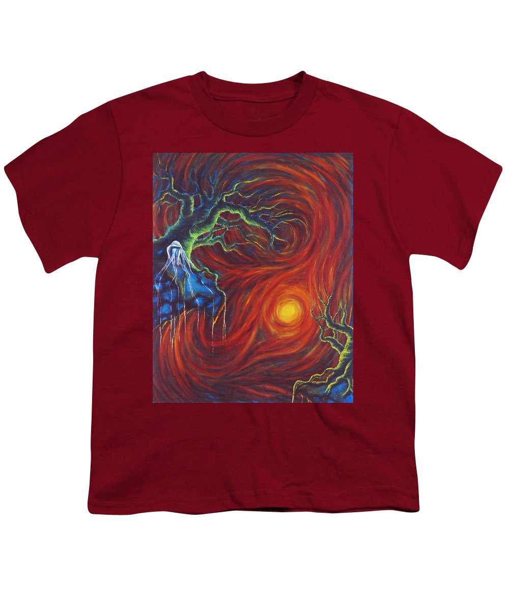 Tree Paintings Youth T-Shirt featuring the painting Anxiety by Jennifer McDuffie