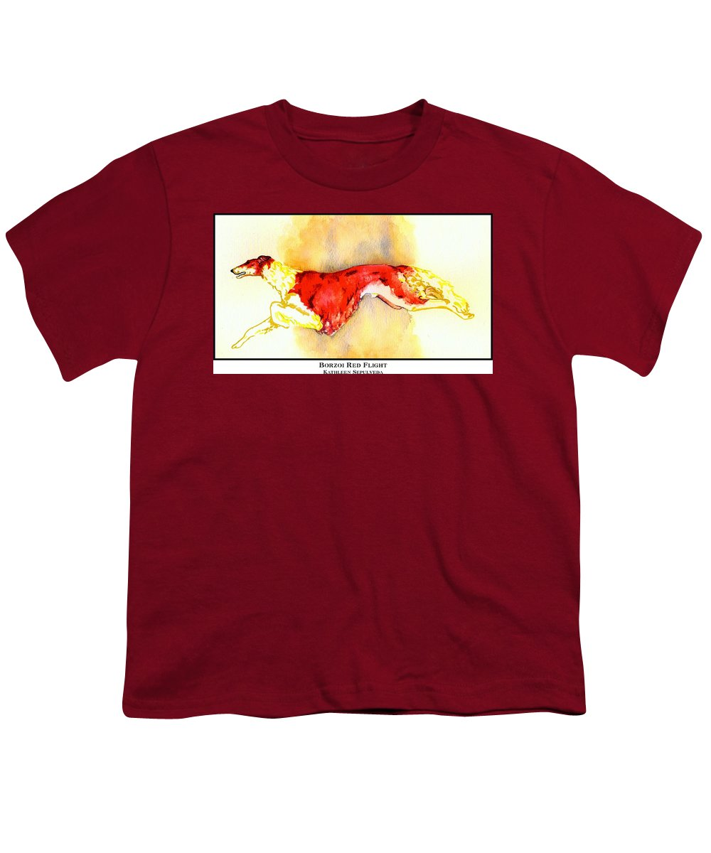 Borzoi Youth T-Shirt featuring the digital art Borzoi Red Flight by Kathleen Sepulveda