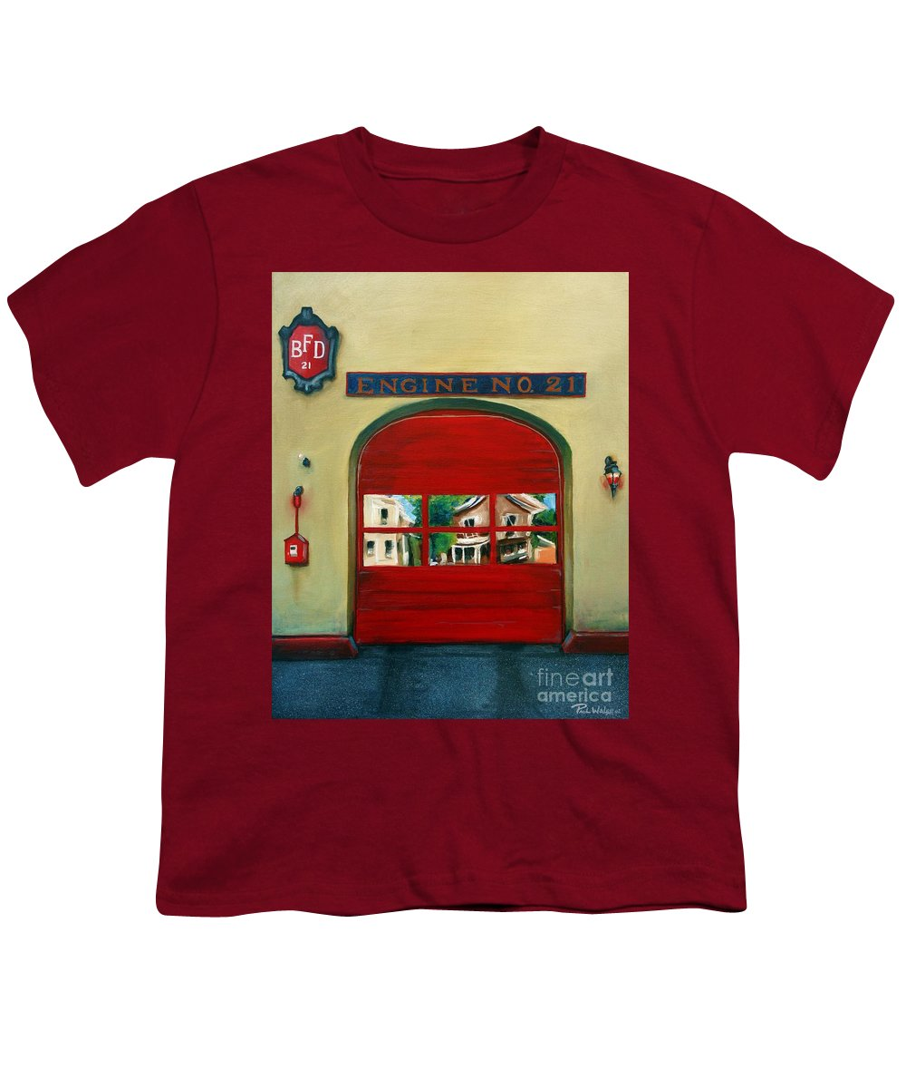 Fire House Youth T-Shirt featuring the painting Boston Fire Engine 21 by Paul Walsh
