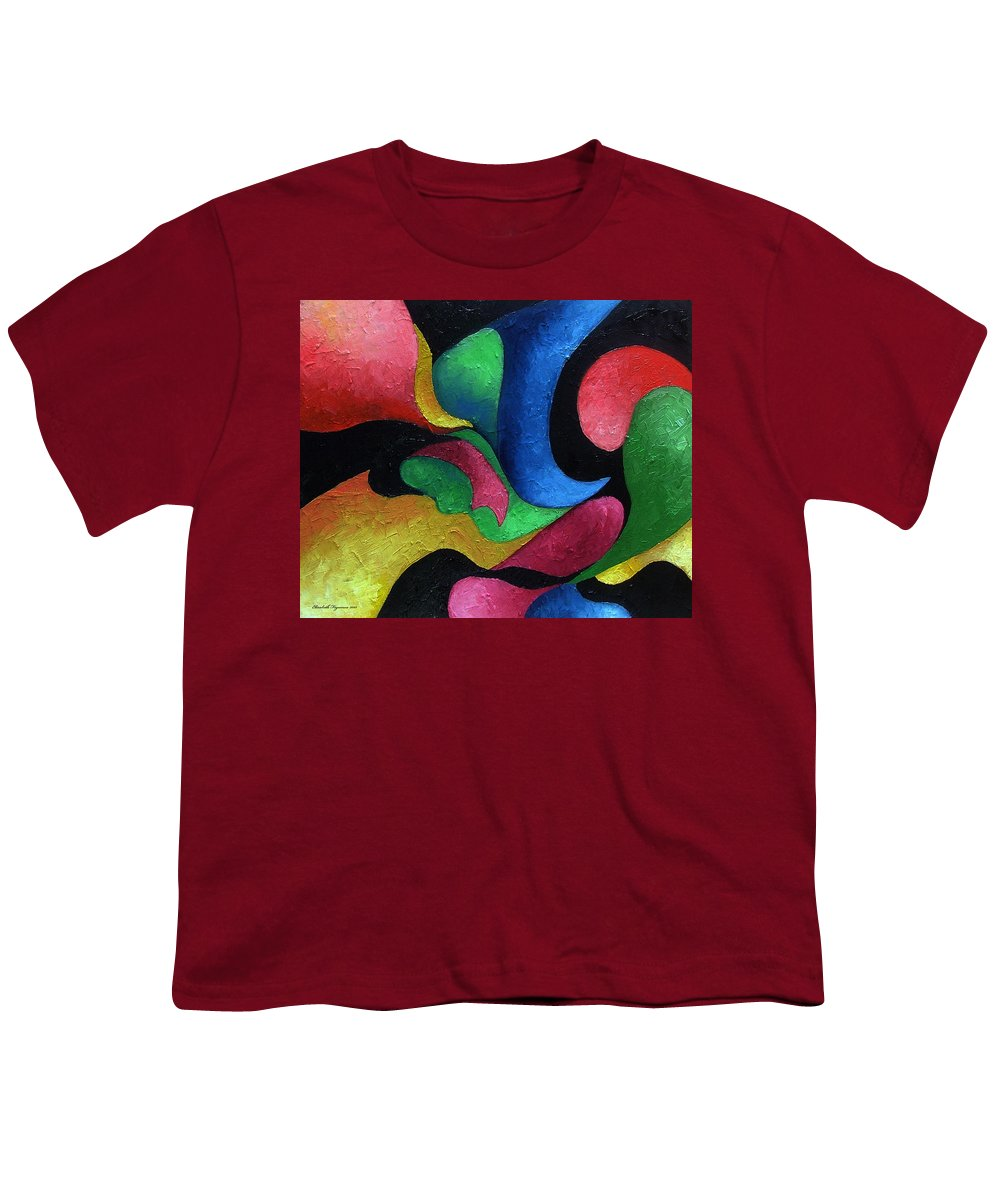 Abstract Youth T-Shirt featuring the painting Dance With Me by Elizabeth Lisy Figueroa
