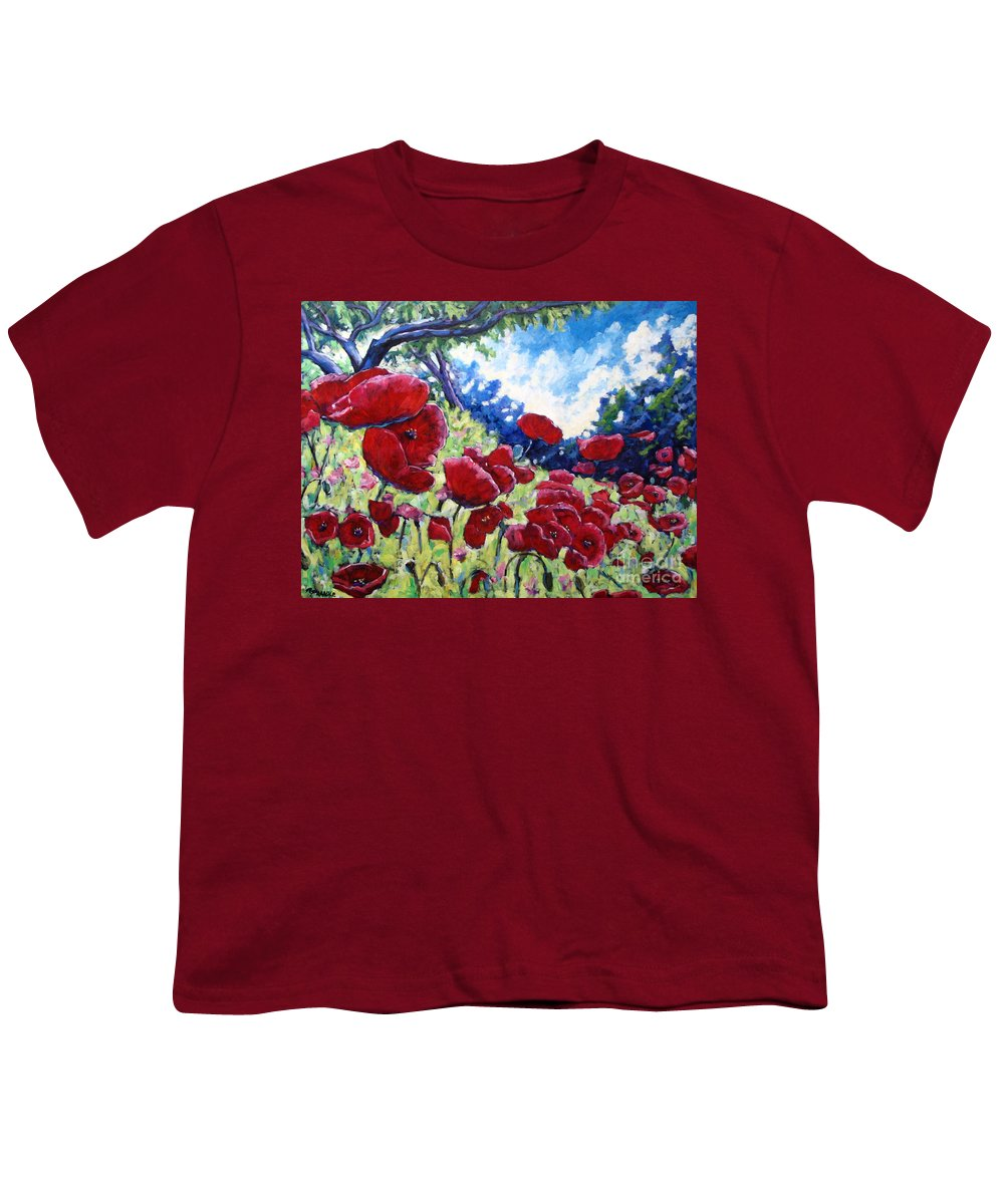 Poppies Youth T-Shirt featuring the painting Field Of Poppies 02 by Richard T Pranke