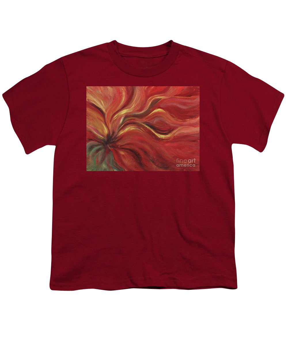 Red Youth T-Shirt featuring the painting Flaming Flower by Nadine Rippelmeyer