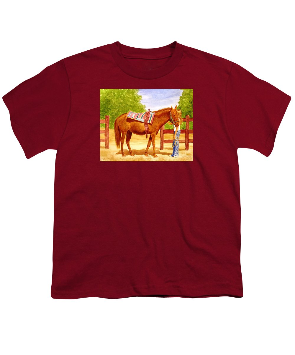 Equine Youth T-Shirt featuring the painting Girl Talk by Stacy C Bottoms