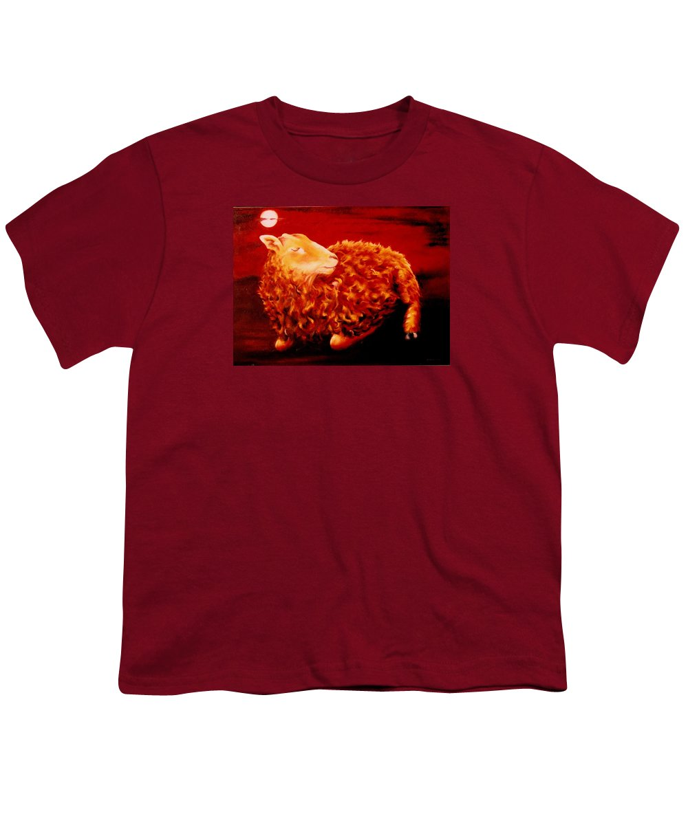 Sunset Youth T-Shirt featuring the painting Golden Fleece by Mark Cawood