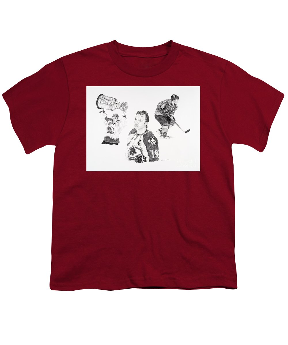 Hockey Youth T-Shirt featuring the drawing Joe Sakic by Shawn Stallings