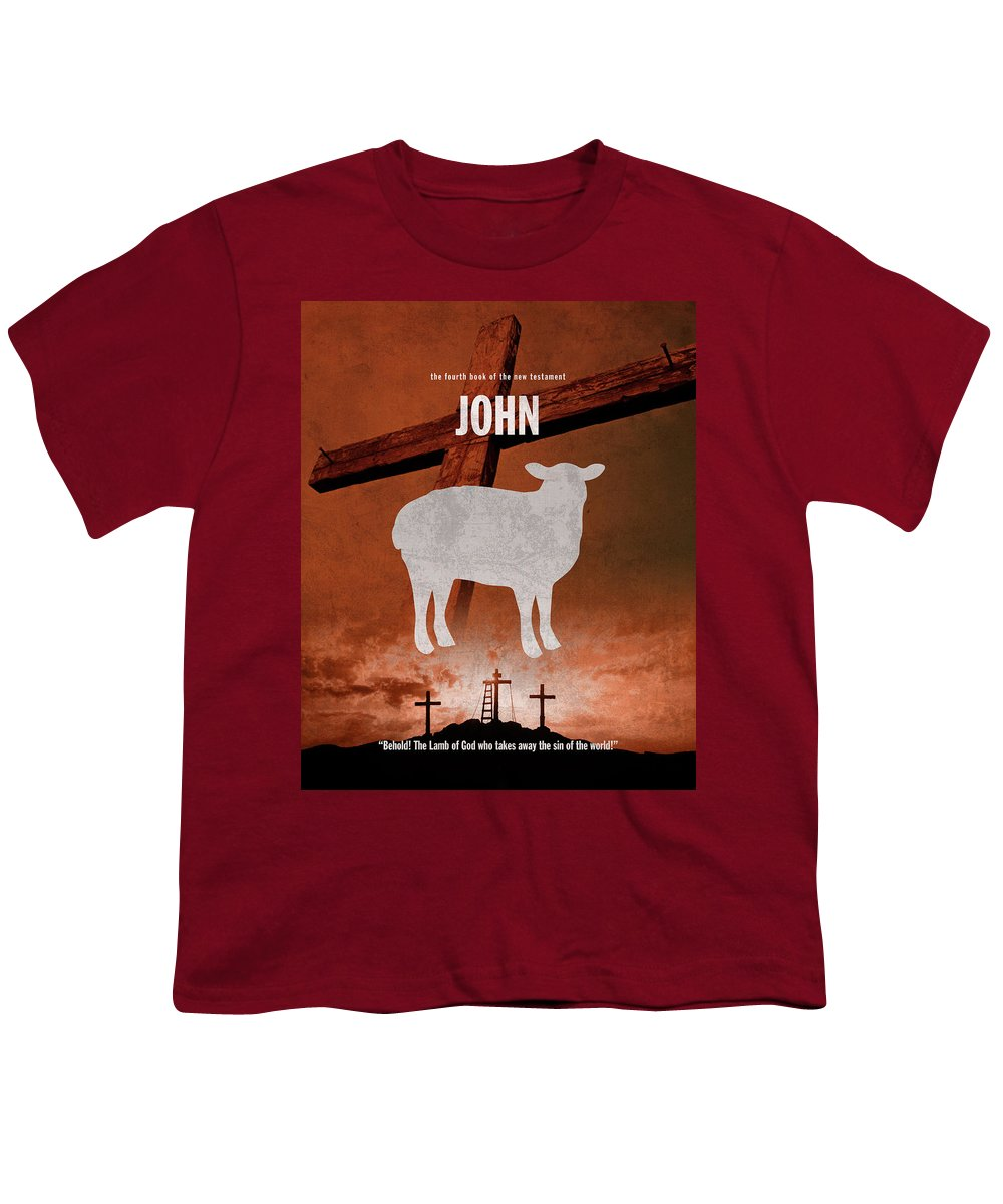 John Youth T-Shirt featuring the mixed media John Books Of The Bible Series New Testament Minimal Poster Art Number 04 by Design Turnpike