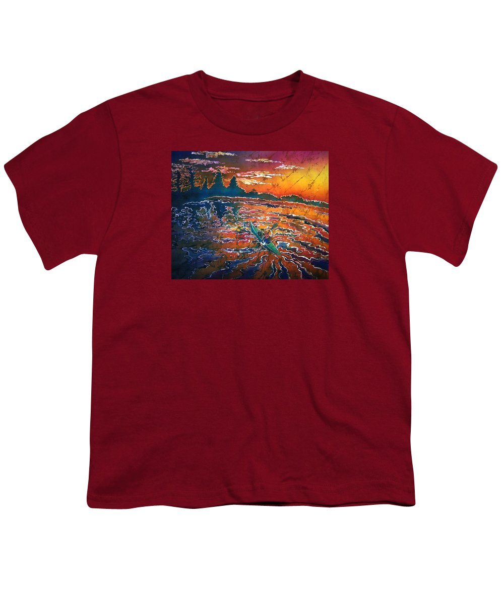 Kayak Youth T-Shirt featuring the painting Kayak Serenity by Sue Duda