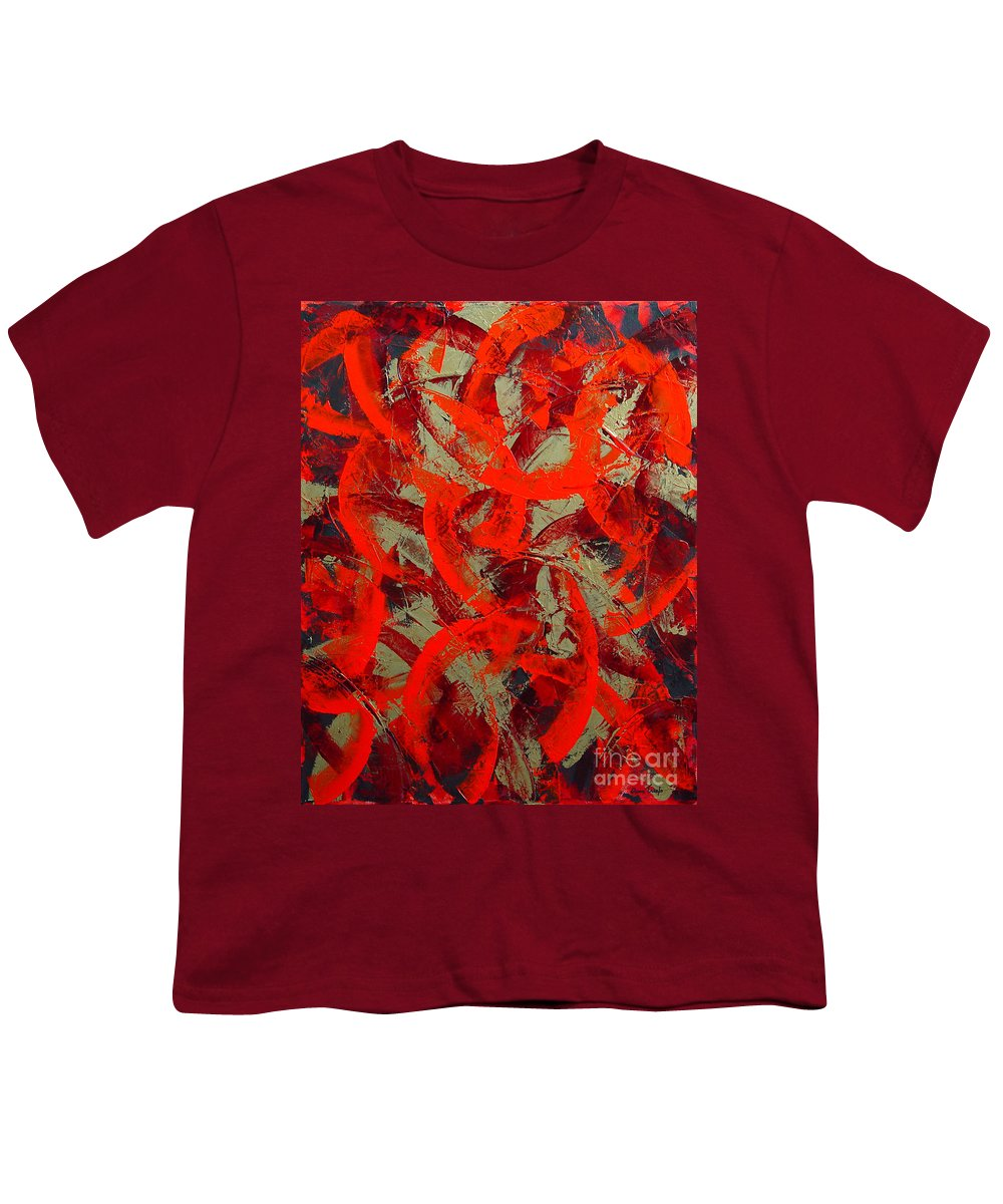 Abstract Youth T-Shirt featuring the painting Love Trails by Dean Triolo