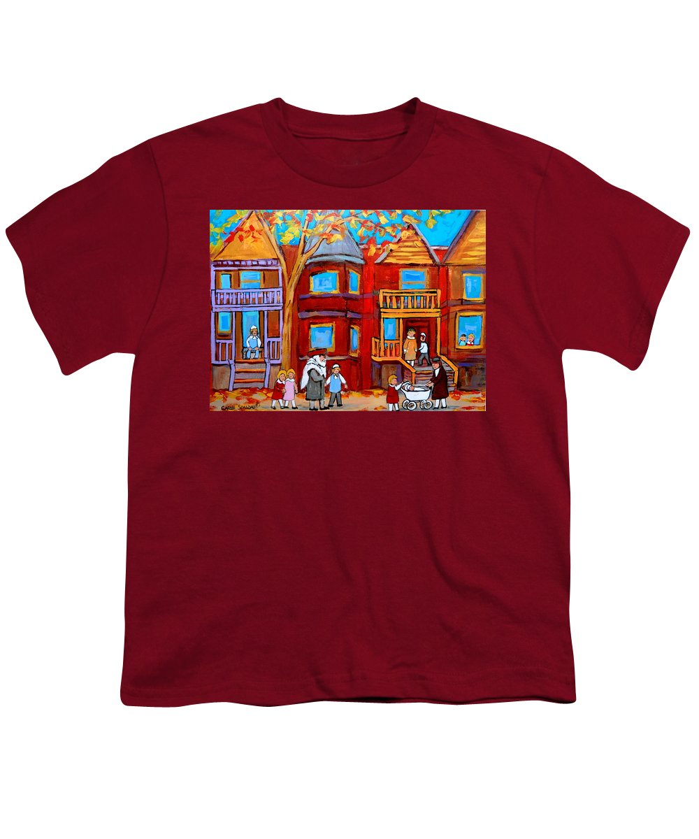 Outremont Youth T-Shirt featuring the painting Montreal Memories Of Zaida And The Family by Carole Spandau