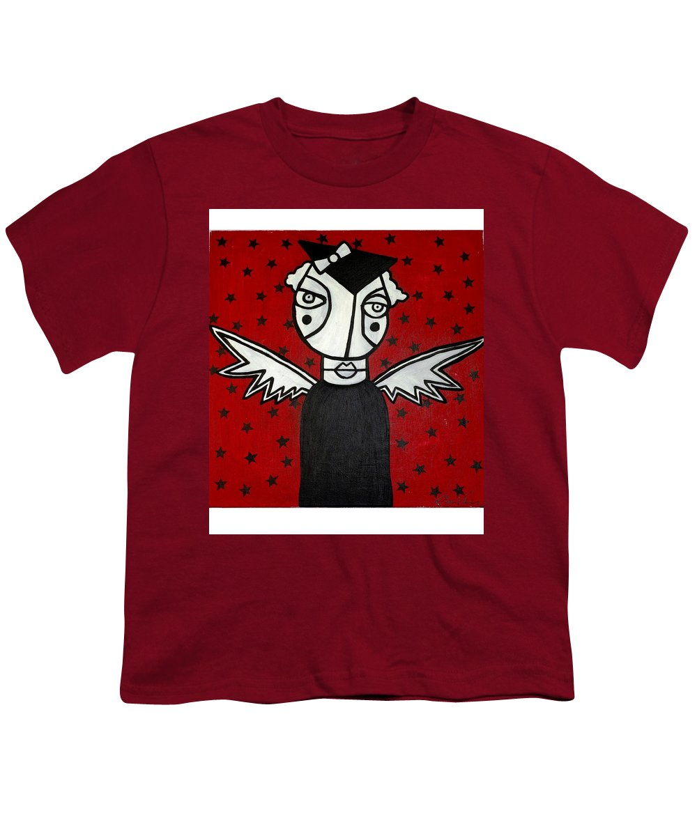 Potrait Youth T-Shirt featuring the painting Mrs.creepy by Thomas Valentine