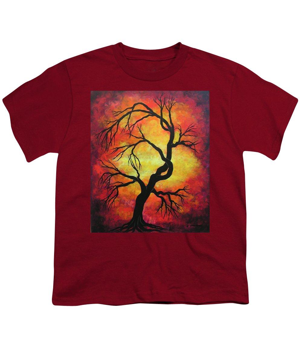 Acrylic Youth T-Shirt featuring the painting Mystic Firestorm by Jordanka Yaretz