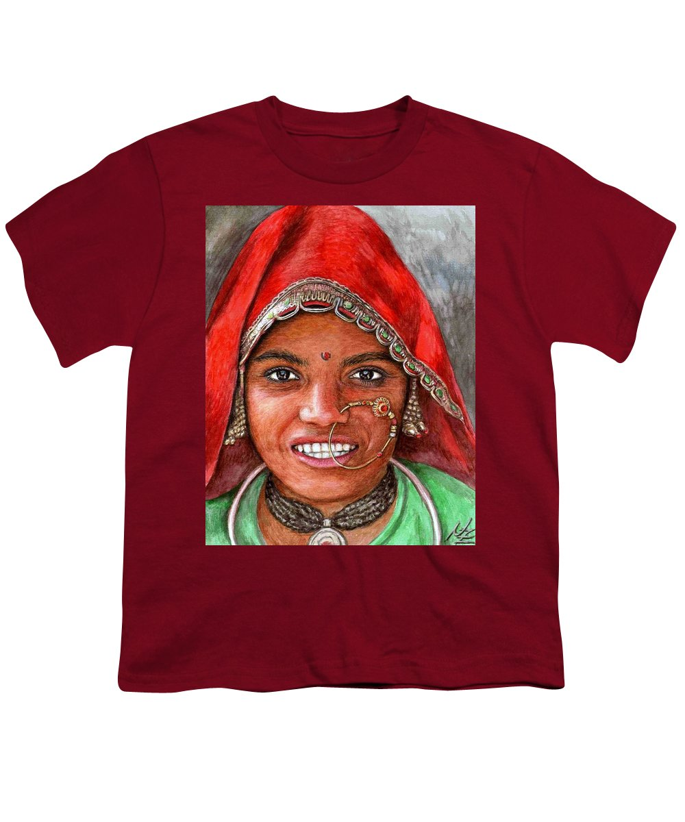 Woma Youth T-Shirt featuring the painting Northindian Woman by Nicole Zeug