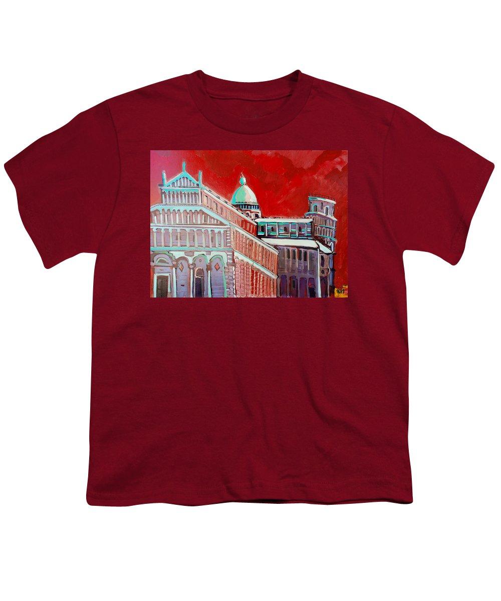 Pisa Youth T-Shirt featuring the painting Pisa by Kurt Hausmann