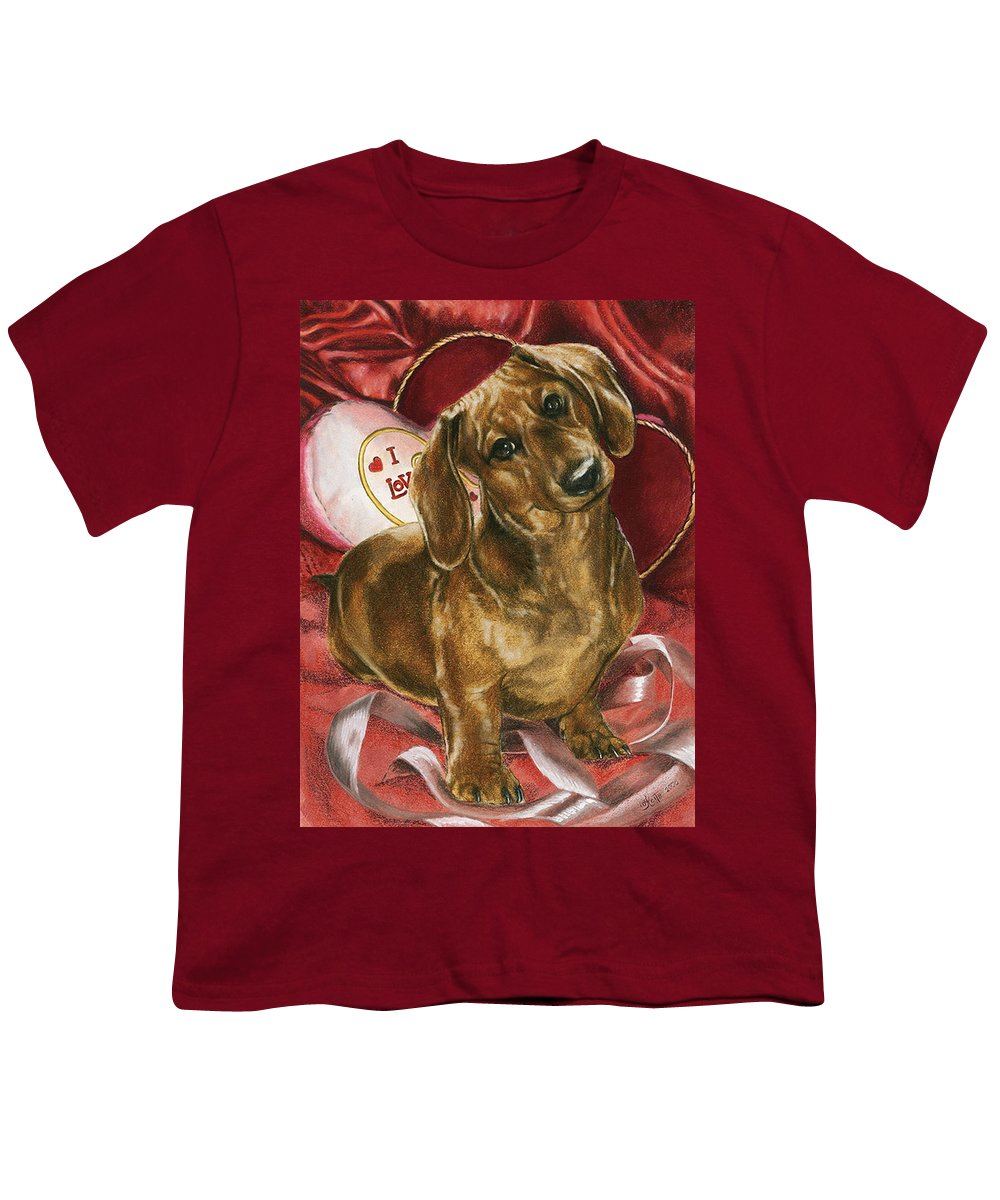 Dogs Youth T-Shirt featuring the mixed media Please Be Mine by Barbara Keith