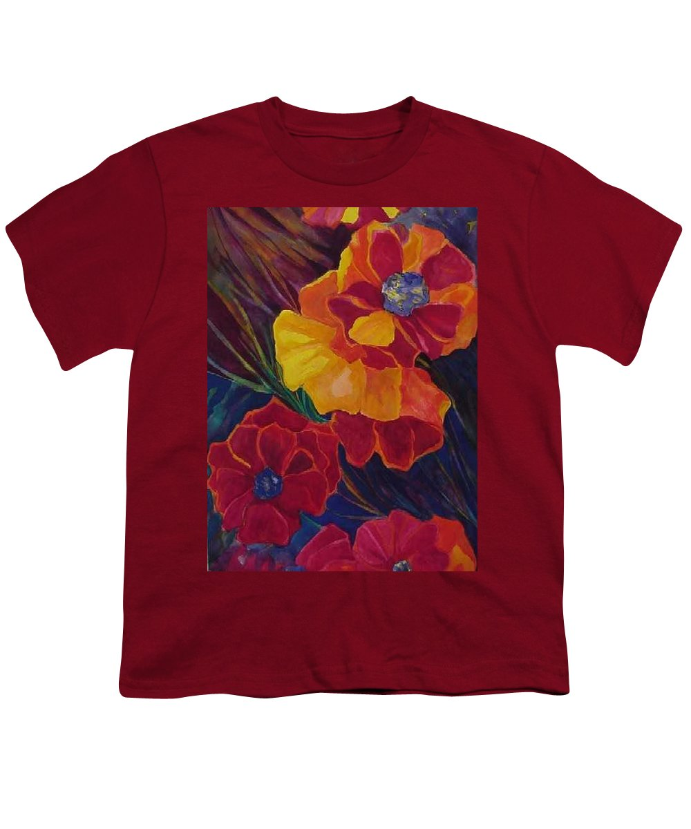 Flowers Youth T-Shirt featuring the painting Poppies by Carolyn LeGrand