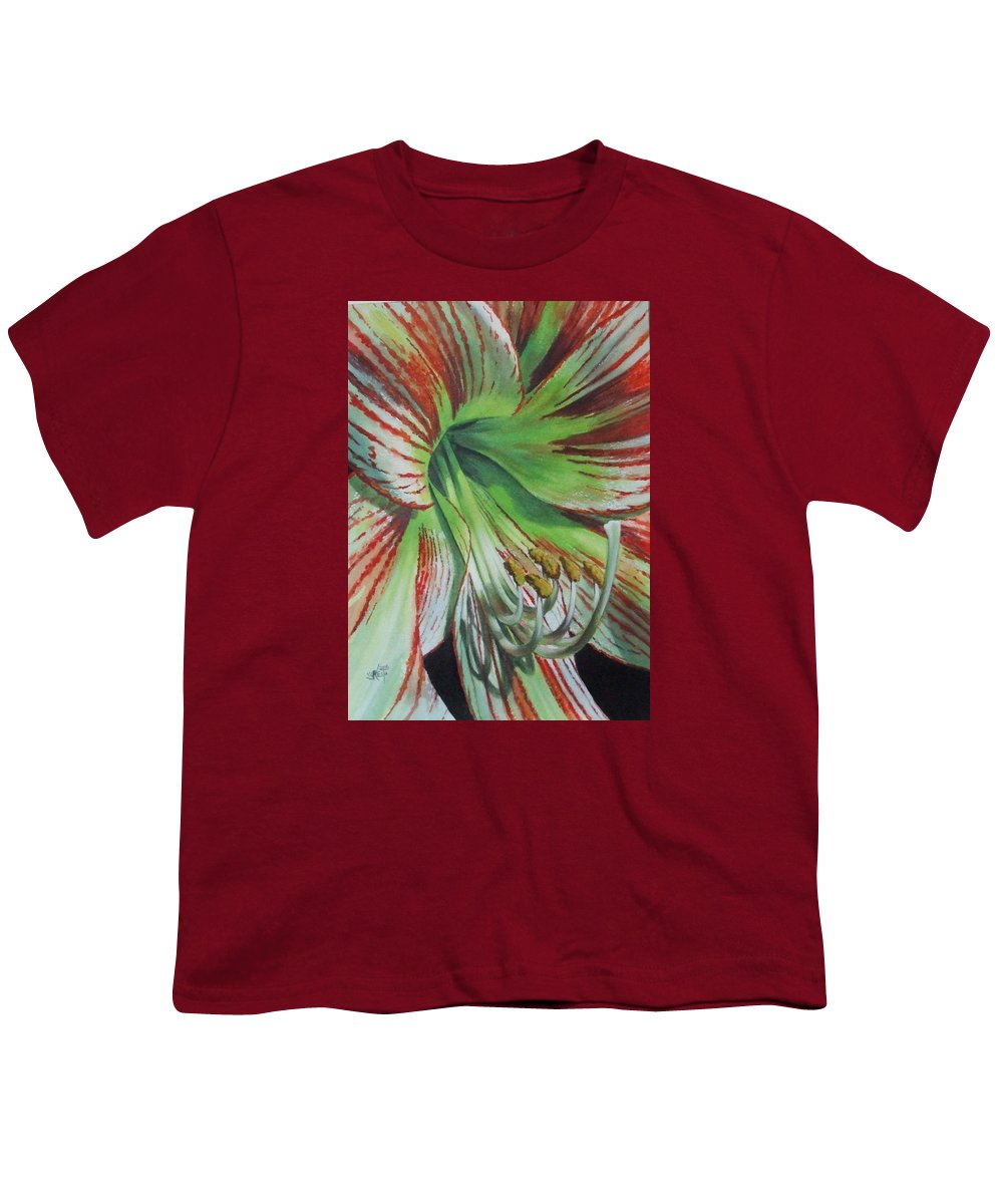 Amaryllis Youth T-Shirt featuring the painting Precious by Barbara Keith