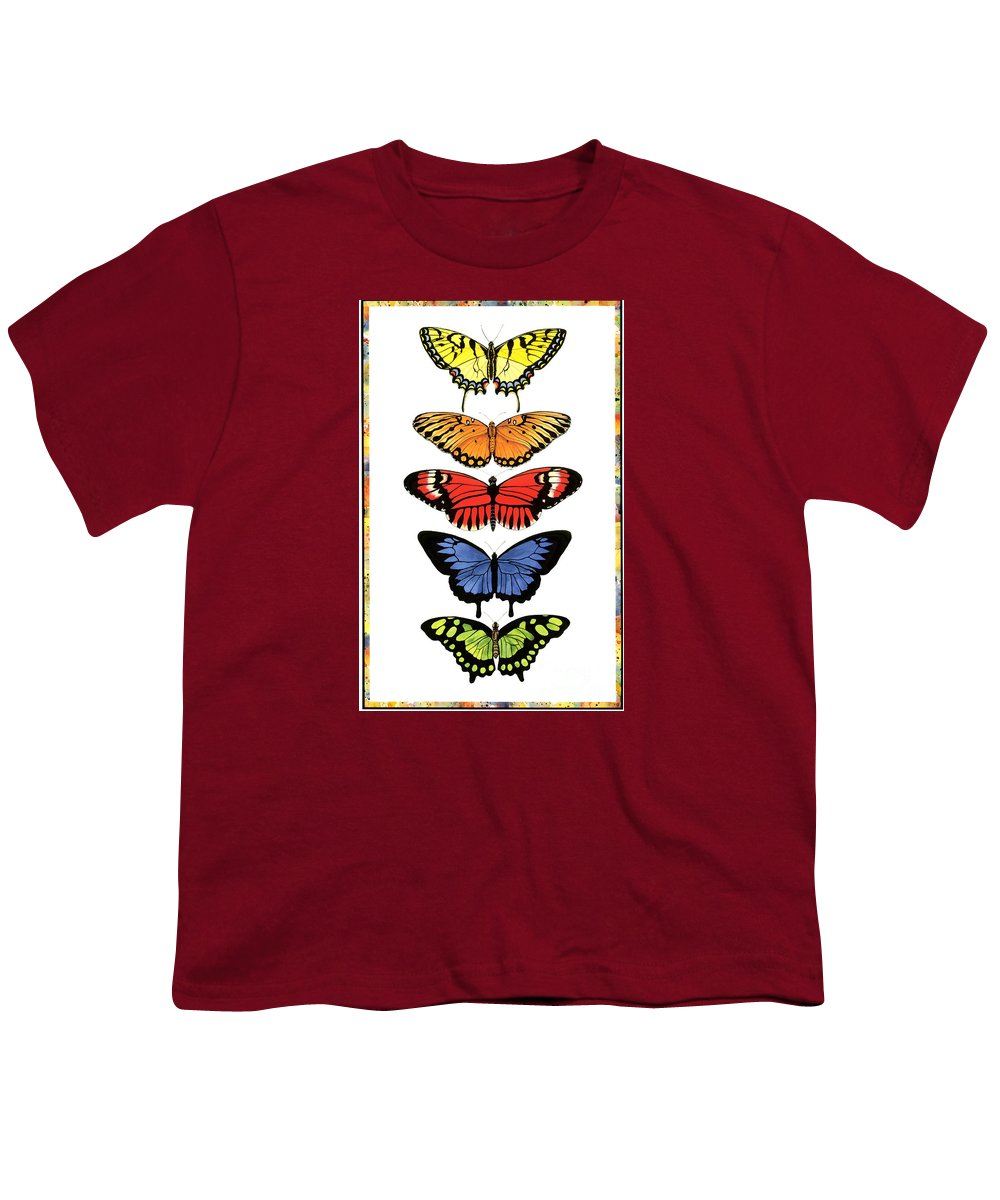 Butterflies Youth T-Shirt featuring the painting Rainbow Butterflies by Lucy Arnold