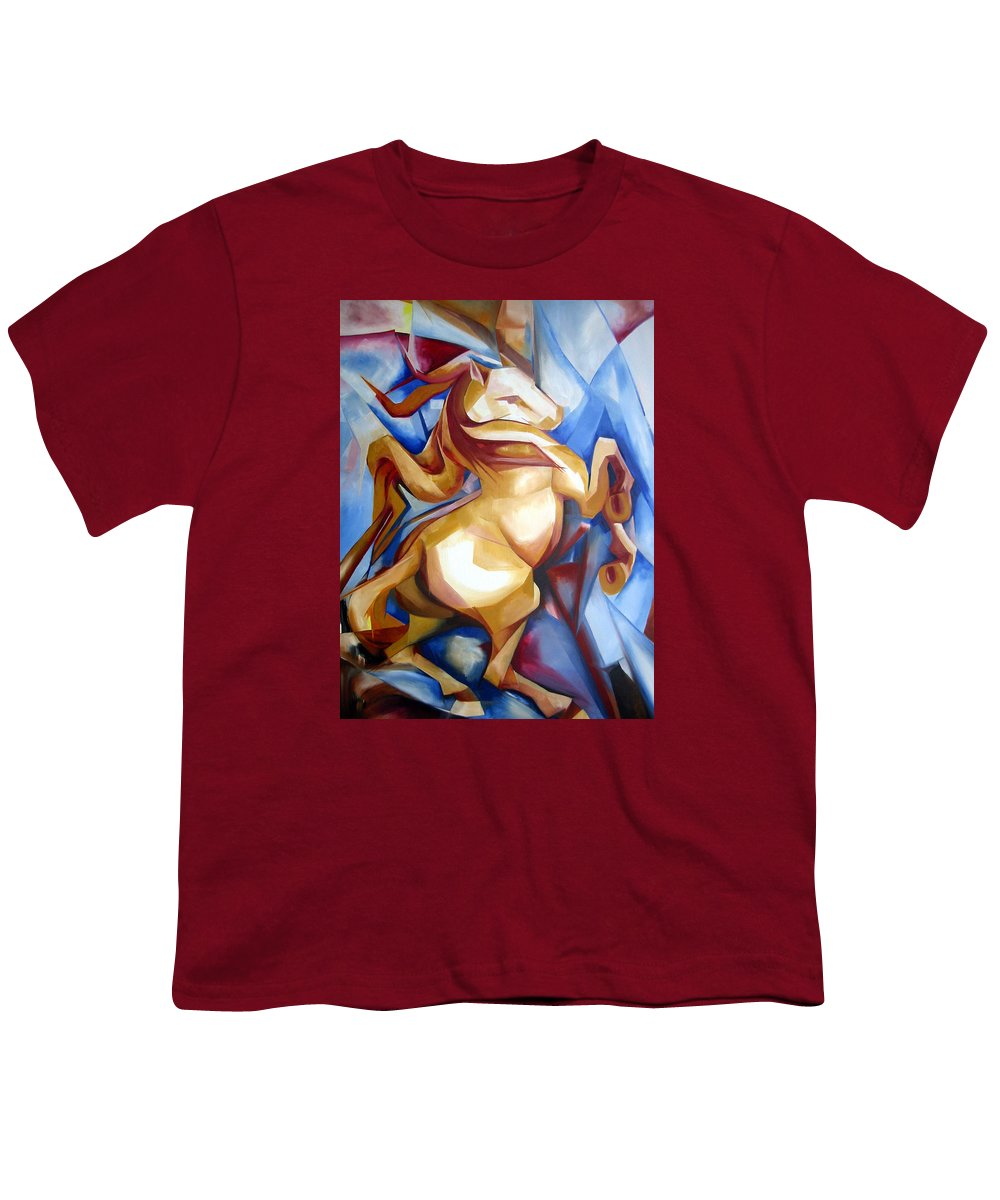 Horse Youth T-Shirt featuring the painting Rearing Horse by Leyla Munteanu