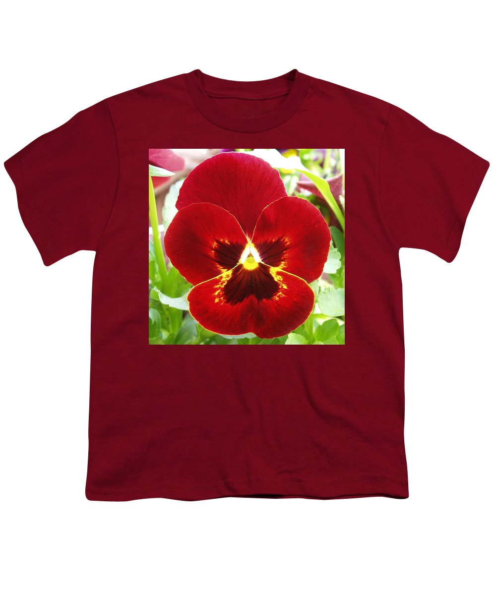 Red Youth T-Shirt featuring the photograph Red Pansy by Nancy Mueller