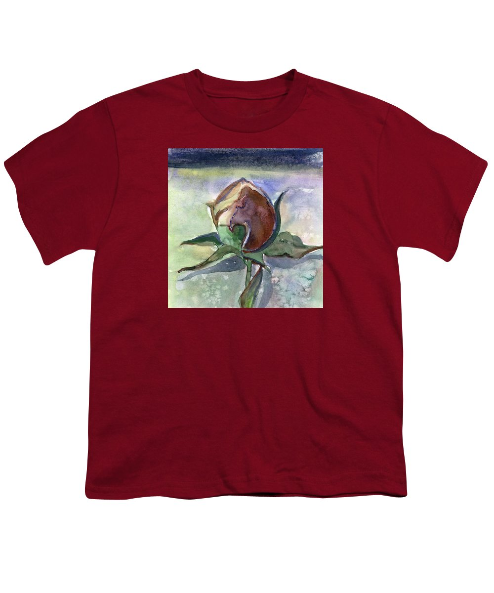 Rose Youth T-Shirt featuring the painting Rose In The Snow by Mindy Newman
