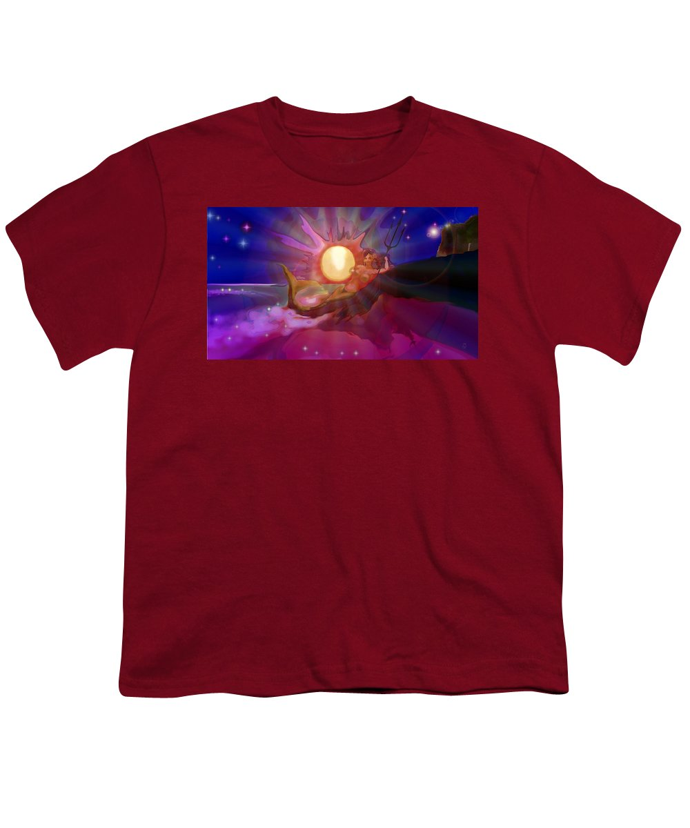 Sera Youth T-Shirt featuring the digital art Sera Maroon by Mark Kleinschnitz