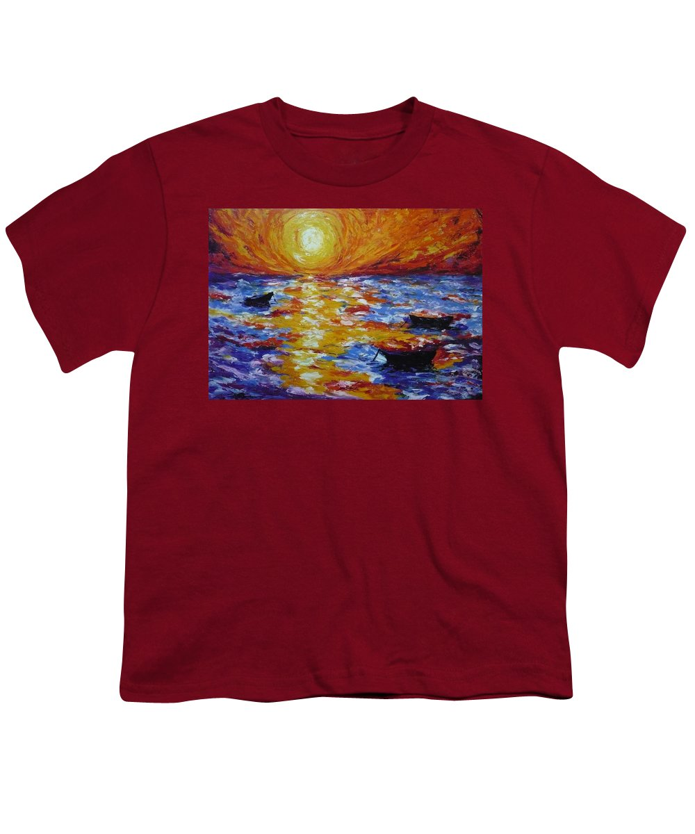 Landscape Youth T-Shirt featuring the painting Sunset With Three Boats by Ericka Herazo