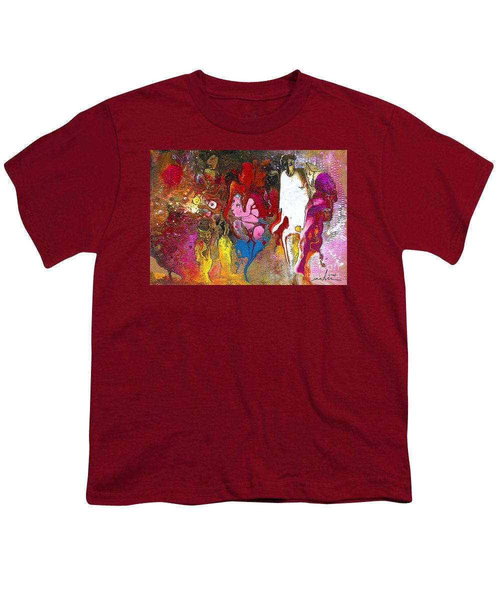 Miki Youth T-Shirt featuring the painting The First Wedding by Miki De Goodaboom