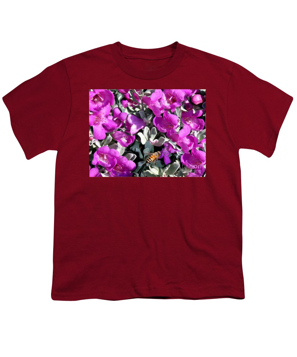 Nature Youth T-Shirt featuring the photograph The Flight Of The Bumble Bee by Lucyna A M Green