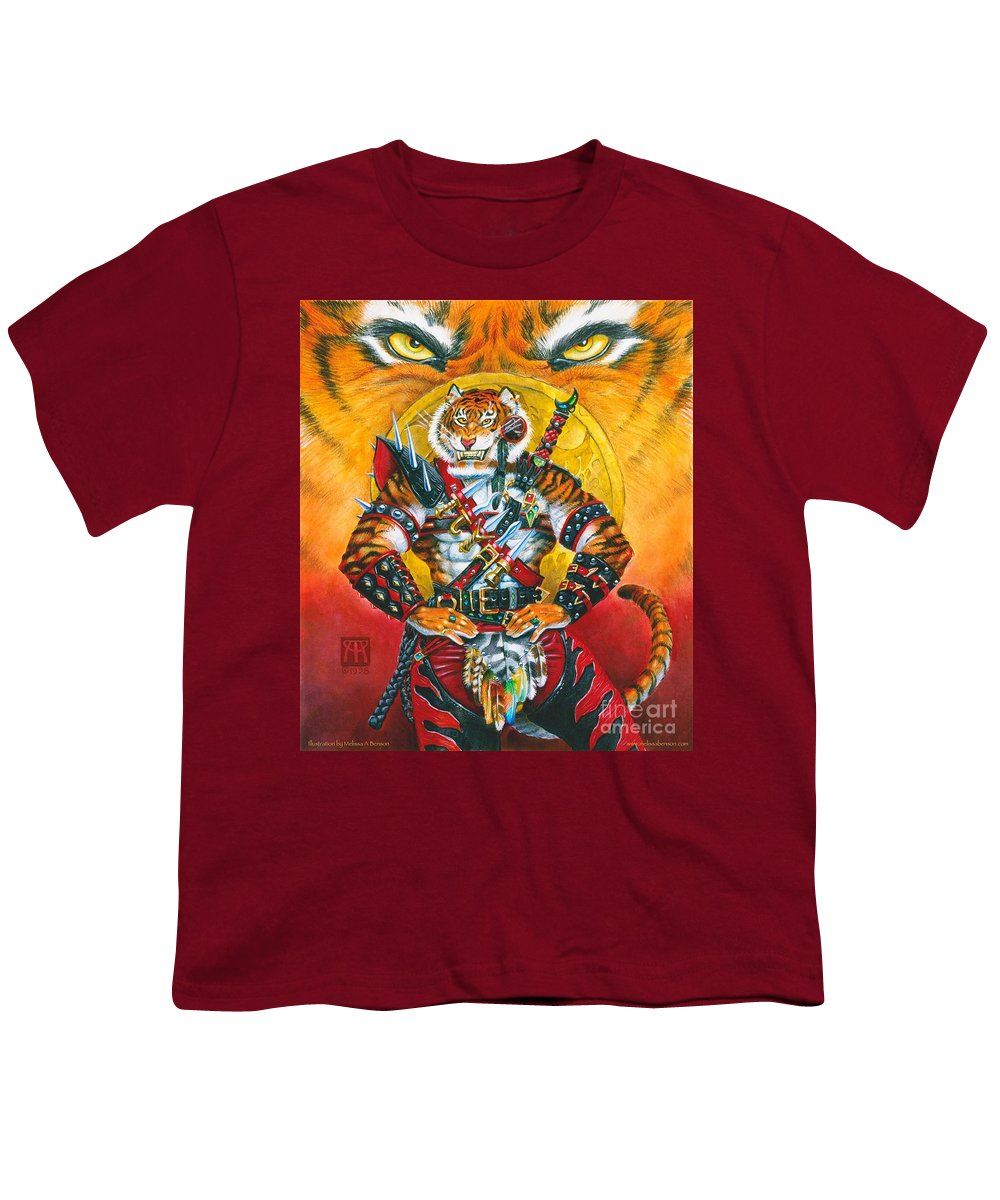 Fantasy Youth T-Shirt featuring the painting Werecat Warrior by Melissa A Benson