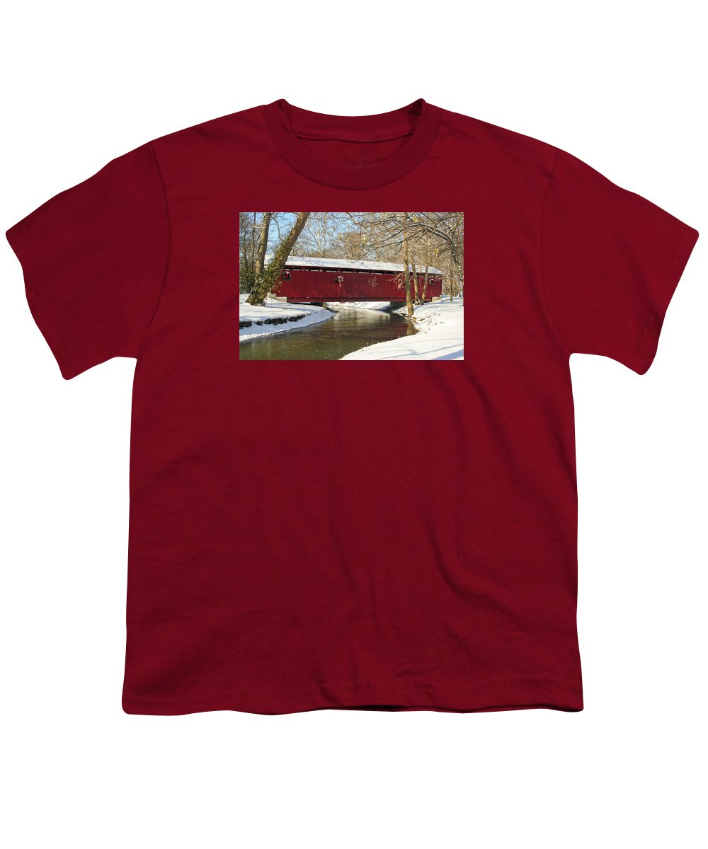 Covered Bridge Youth T-Shirt featuring the photograph Winter Bridge by Margie Wildblood