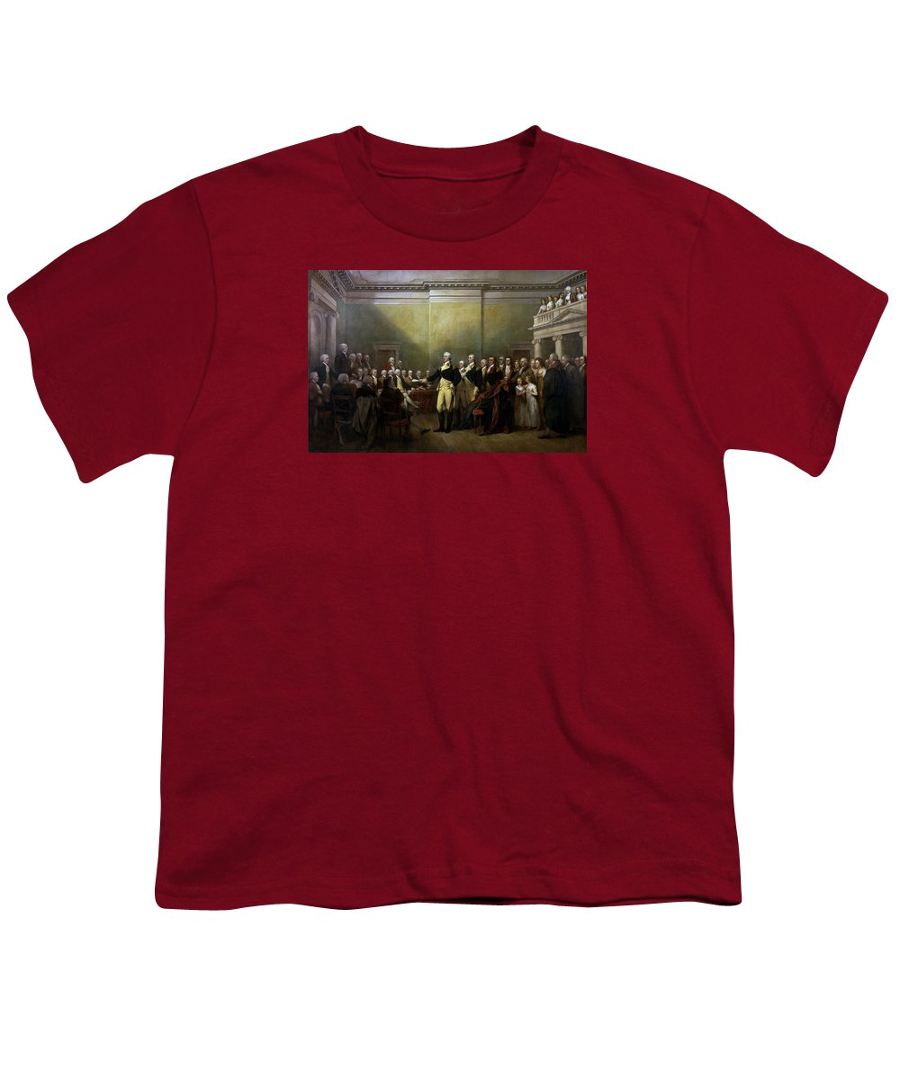 George Washington Youth T-Shirt featuring the painting General Washington Resigning His Commission by War Is Hell Store