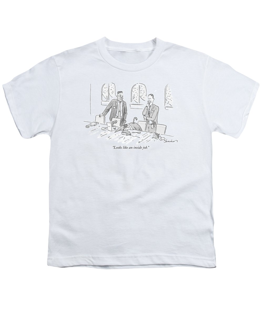 Christmas Youth T-Shirt featuring the drawing Looks Like An Inside Job by Danny Shanahan