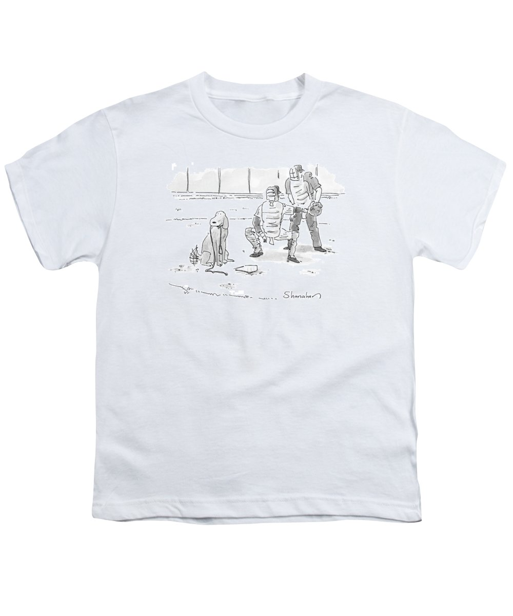 Sports Pets Dogs Baseball Homeplate Walk Youth T-Shirt featuring the drawing New Yorker October 10th, 2005 by Danny Shanahan